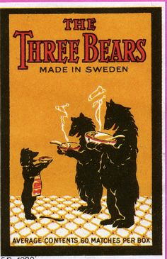 The Three Bears, Tulitikku Oy #labels #matches #bears #etiketit #tulitikkuetiketit