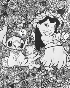 Lilo et Stitch Design Floral par byjamierose sur Etsy