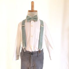 Dusty Shale bow tie and suspenders