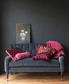 my study, velvet, dark grey and pink.