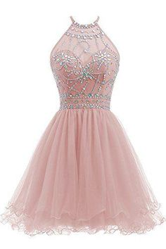 Ellames Womens Beaded Halter Homecoming Dress Short Tulle Prom Dress Blush US 4 -- See this great product. (This is an affiliate link and I receive a commission for the sales) Halter Top Prom Dresses, Cute Prom Dresses, Beaded Prom Dress, Dresses For Teens, Junior Dresses, Pretty Dresses, Homecoming Dresses, Short Tulle Dress, Quinceanera Dresses Short