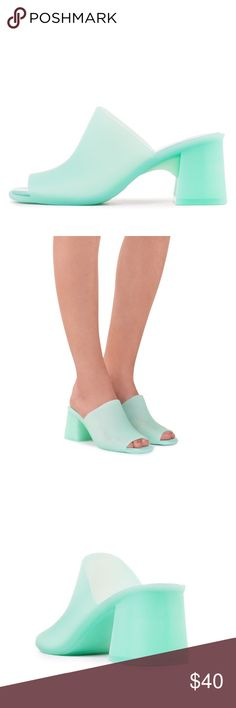 3043bdce86b9 NIB    Jeffrey Campbell Petra Mules Jeffrey Campbell Petra Jelly Block Heel  Mules in Turquoise   Green Matte Go retro with this playful pair of block  heel ...