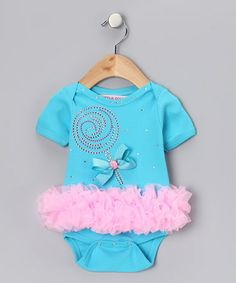 Take a look at this Turquoise & Pink Lollipop Ruffle Bodysuit - Infant by Little Diva on #zulily today!