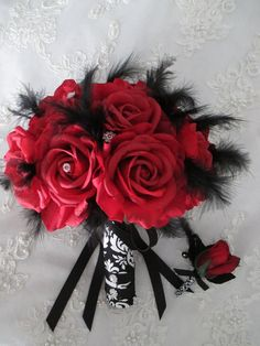41 Trendy Wedding Bouquets Black And White Red Prom Bouquet, White Wedding Bouquets, Bride Bouquets, Wedding Dresses, Prom Flowers, Wedding Flowers, Wedding Stuff, Wedding Ideas, Silk Roses