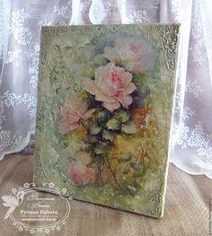 """Купить Панно фреска """" Розы от Sonie Ames"""" - бледно-розовый, фреска, панно"""