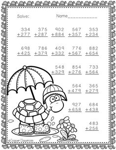 Spring 3-Digit Addition with Regrouping Color-by-Code