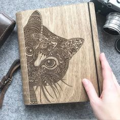 Personalized Cat Lover Gift Wooden Binder Custom Notebook Journal Diary Animal Lover Valentines Day Gift for Her Bridal Shower Guest Book Birthday Gifts, Happy Birthday, Wooden Music Box, Custom Journals, Gifts For An Artist, Cat Lover Gifts, Keepsake Boxes, Gifts For Boys