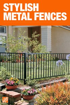 This Home Depot guide discusses fence material types, styles and usage guidelines. Read on for an excellent comparison of the types of fences for your fencing project. Metal Garden Fencing, Metal Fence, Metal Doors, Backyard Fences, Backyard Landscaping, Fence Design, Garden Design, Exterior Handrail, Porch Handrails