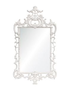 """White Lacquered """"Chippendale"""" Mirror at Horchow."""