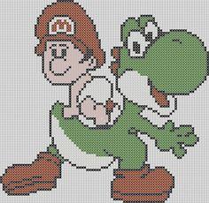 Super Mario Brothers Inspired  Yoshi with Baby von StitchedPixels