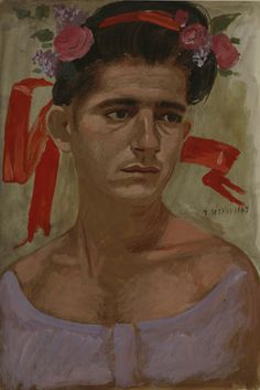 Study for May - Yannis Tsarouchis Greece Painting, Greek Art, Art Database, Caravaggio, Naive Art, Gay Art, Michelangelo, Flower Art, Folk Art