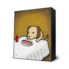 Revenge Is A Dish (Dog) by Luke Chueh - Mini Art Blocks available at EyesOnWalls.com http://www.eyesonwalls.com/collections/mini-art-blocks #lukechueh #lukechuehart #fineart #painting #traditionalart #fineartprints #artprints #wallart #art #cute #dogs #hotdogs