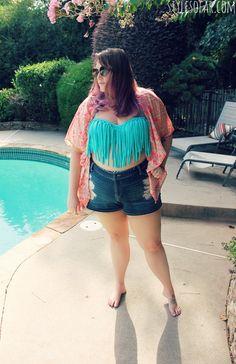 Style So Far- plus size fashion blog. High waisted shorts,  plus size fringe bikini, and kaftan for a pool-side look.
