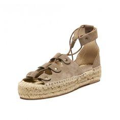 Soludos Ghillie Lace-Up Platform Sandal in Dove Grey - Soludos Espadrilles