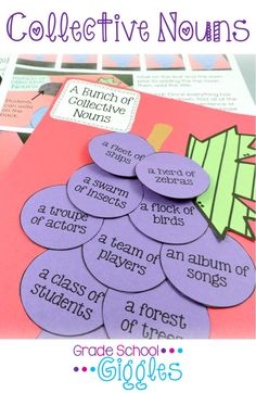 Collective Nouns - This unit makes it easy to teach and easy to learn all about collective nouns. Definitions...games...worksheets...foldable flip-flap book... even a craftivity...ALL in one place!