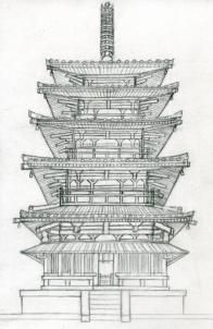 how to draw a pagoda, japanese pagoda step 16