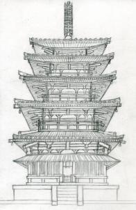 how to draw a pagoda, japanese pagoda step 16