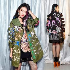 Hooded Graffiti Trench