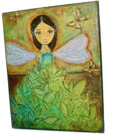 Hada Verde   Original Mixed Media Painting on Canvas by FlorLarios, $300.00
