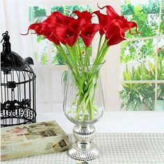 10pcs réel tactile Calla Lily PVC fleurs artificielles Bouquets de mariage…
