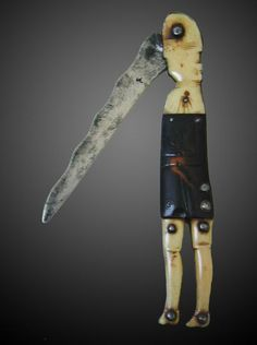"""Revolutionary War period 'Hessian' Soldier Folding Pocket Knife  (6th GGF Wilhelm Fleischhut) Dated circa 1775-1780, this is a Rare 18th Century Revolutionary War period """"Hessian"""" Soldier Folding Pocket Knife made of bone and horn (1775 - 1780). One of only a handful of known examples of this kind, the folding pocket knife is made of carved bone and horn."""