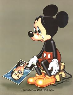 Mickey Mouse mourning Walt :'( ---Everyone that day lost a part of their childhood. Thank God the Disney Co. has kept the traditions and ideals of this great man alive.