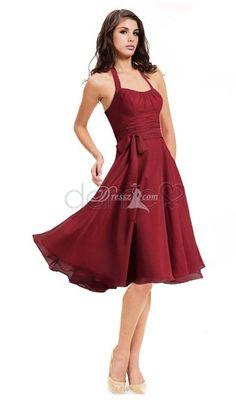 bridesmaid dresses/Strand A Linie Chiffon Nackenträger kniehohes gefaltetes einfaches Brautjungfernkleid