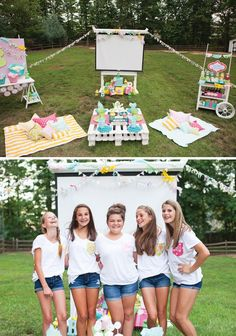 Outdoor Movie Night Teen Birthday Party An Outdoor Movie Night Party would be fun for a summer teen party!An Outdoor Movie Night Party would be fun for a summer teen party! 13th Birthday Parties, Birthday Party For Teens, Sleepover Party, Birthday Party Themes, Teen Party Themes, Teen Girl Birthday, Outdoor Birthday Parties, Birthday Diy, Party Ideas For Teenagers