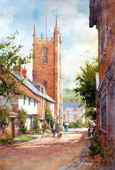 """Ian Ramsay - Ceme Abbas, Dorset, England - Watercolor - 21"""" x 14"""""""