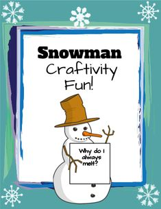 Your students will LOVE doing this creative writing. drawing and coloring activity! It has them brainstorm then write, draw and color the life cycle of a snowman. Last, the students use what they know to create a melted snowman and use their imagination to write about why their snowman melted. Very engaging and fun-could be easily used to post in your classroom! They come up with the funniest ways their snowman melts!