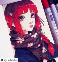 Sakura scarf by @ladowska