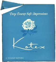 1960s kotex box - at one time, these came wrapped in white paper so women wouldn't be embarrassed buying them. Everyone knew what they were. ct~