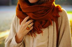 love Fall, that scarf, that sweater, and that $250 RING!