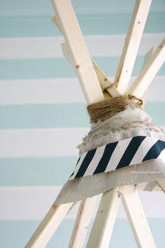 DIY No sew teepee, using fabric scraps.