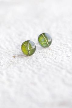 Real leaf earrings  green forest jewelry  woodland by UralNature
