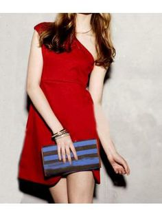 Sexy One Shoulder Red Cotton Skinny Dress for Women