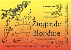 Cerveja Gaverhopke Zingende Blondine (Singing Blonde), estilo Belgian Golden Strong Ale, produzida por 't Gaverhopke, Bélgica. 9.8% ABV de álcool.