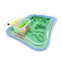 Amazon.com: Newisland Kinetic Sand Kit with Inflatable Tray, Molds, Tools and Storage Box, 2.2 lbs Green Sand: Toys & Games