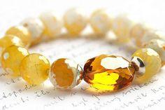 Yellow Crab Agate Bracelet. Golden Honey Crystal. by KapKaDesign, $58.00