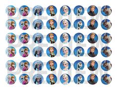 """48 One Inch Frozen Bottle Cap Images  - 1"""" Circle, Unlimited Printing, DIY, Craft, Birthday, Party, Snow Queen, Elsa, Anna, Olaf, Bottlecap"""