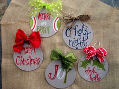 Set of 5 handpainted ornaments by KBsKaboodle on Etsy, $20.00