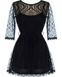 Perforated Lace Dress: Features a sheer upper bodice framed by delicate elbow-length sleeves, perforated lace pattern accenting the décolleté and back area, adjustable ribbon belt at waist, and a twirl-worthy A-line skirt to finish. Cute Dresses For Juniors, Nice Dresses, Short Dresses, Fashion Outfits, Womens Fashion, Dress Me Up, Pretty Outfits, Fashion Boutique, Dress To Impress