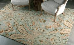 This rug features a progressive and bold interpretation of 18th and 19th century tapestries. The use of ice and sea blue colors are able to bring a soothing effect in any space.