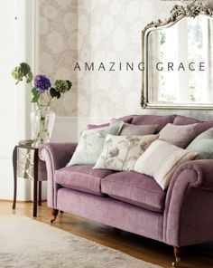 Laura Ashley home furnishings draw beauty from the English Countryside, with designer fabrics, wallpaper & decor for every room. Romantic Living Room, My Living Room, Home And Living, Living Spaces, Romantic Mood, Laura Ashley Living Room, Lila Sofa, Style Anglais, Purple Sofa