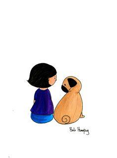 Bah Humpug: A Girl and Her Pug my childhood Baby Pug Dog, Dog Mom, Cute Animals Kissing, Pug Illustration, Pug Cartoon, Pugs And Kisses, Pug Art, Puppy Play, Pug Love