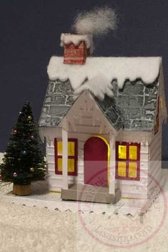 Everyone has seen Tim's new house dies. Here is a version of the house I created for a December class at Cafe Crop located in Merrillville, Indiana. For the siding, I used the Notebook Textu… Christmas Tree Village Display, Christmas Village Houses, Christmas Decorations For The Home, Putz Houses, Christmas Villages, Christmas Home, Christmas Crafts, Decor Crafts, Home Crafts
