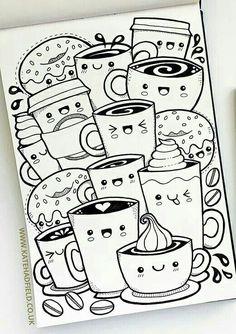 Kawaii Coffee free colouring page – Kate Hadfield Designs Cute Easy Drawings, Cute Kawaii Drawings, Cool Art Drawings, Art Drawings Sketches, Pencil Art Drawings, Easy Doodles Drawings, Drawing Ideas, Cute Doodle Art, Doodle Art Designs