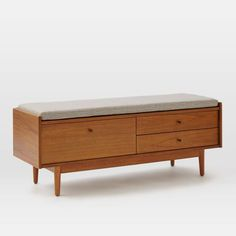 "Mid-Century Entryway Bench - Acorn  |  West Elm  |  $499, solid wood, 50""w x 17""d x 18.4""h"