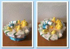 Een leuk badje van luiers en Zwitsal producten! Een heerlijk ruikend cadeau voor een babyshower of als kraamcadeau.