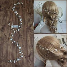 FAST DELIVERY White Floral Cyrstal Pearl Bridal 75 cm Long